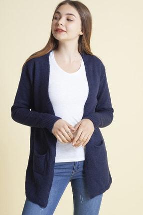 Fashion Friends Kadın Lacivert Yıldız Detaylı Cepli Hırka 5370432