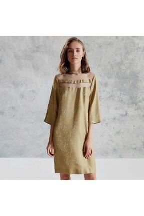 Yargıcı Kadın Safran Yaka Detaylı Elbise