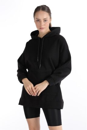 Oblavion Kadın Siyah Yan Yırtmaçlı Cepli Kapüşonlu Sweatshirt