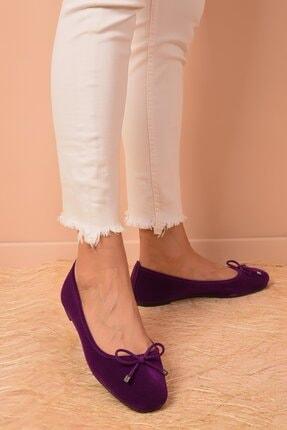 Shoes Time Kadın Mor Süet Babet 20k 401