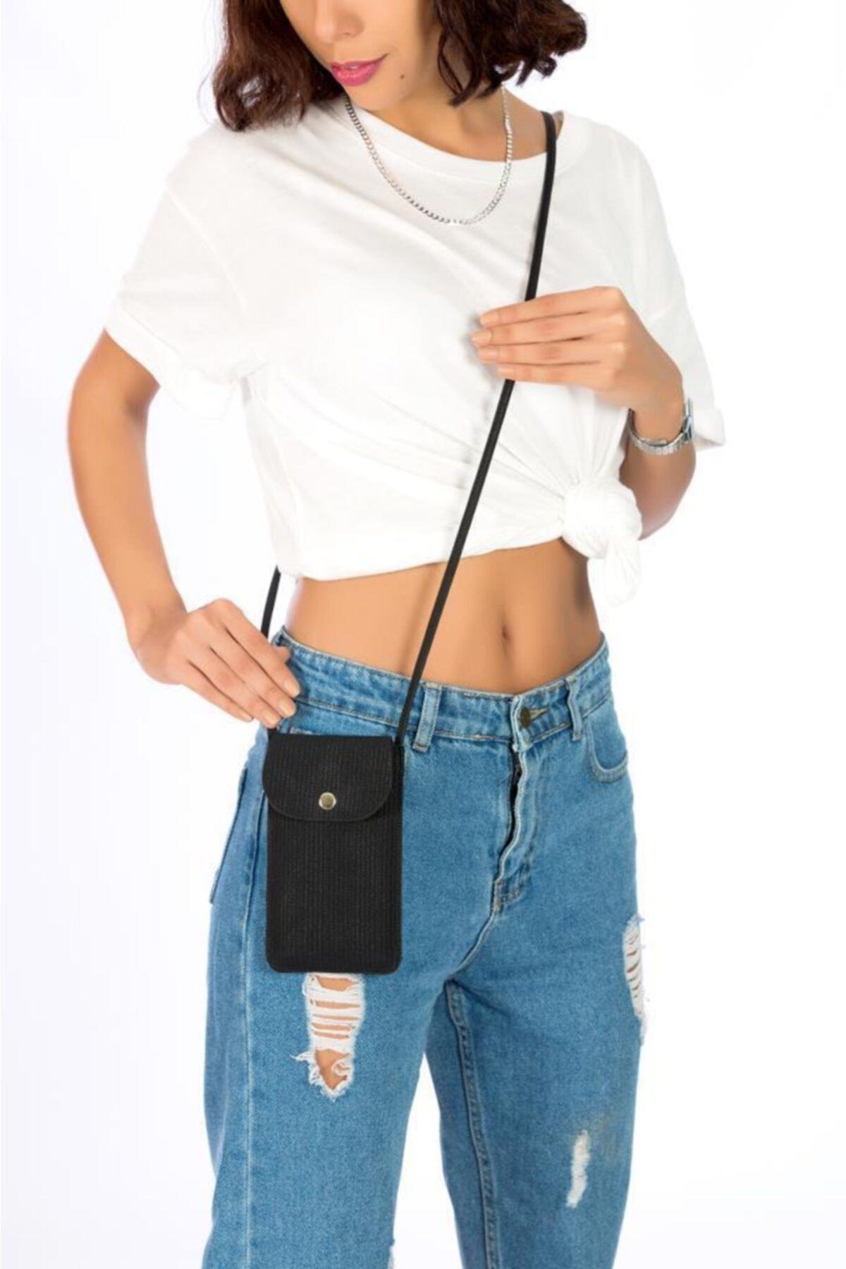 ESPARDİLE Kadın Siyah Kartlık Bölmeli Mini Çanta 1