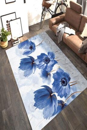 Resmiro Mavi Kantaron Çiçeği Desenli Dijital Baskılı Halı