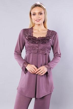 Emose Kadın Mürdüm Dantelli Lohusa Pijama Takım
