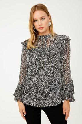 Ekol Kadın Gümüş Simli Desenli Bluz
