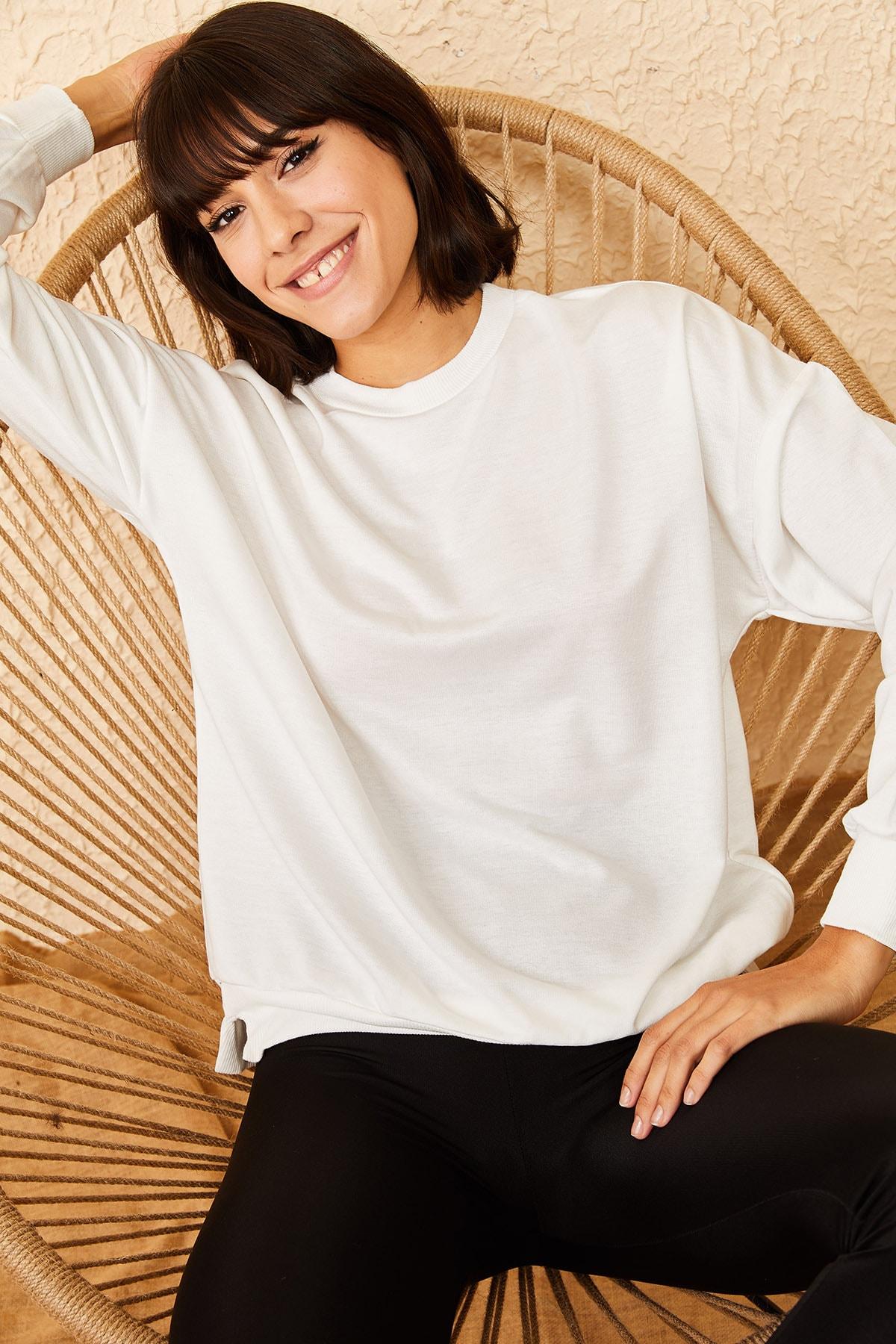 Bianco Lucci Kadın Beyaz Basic Sweatshirt 10161036