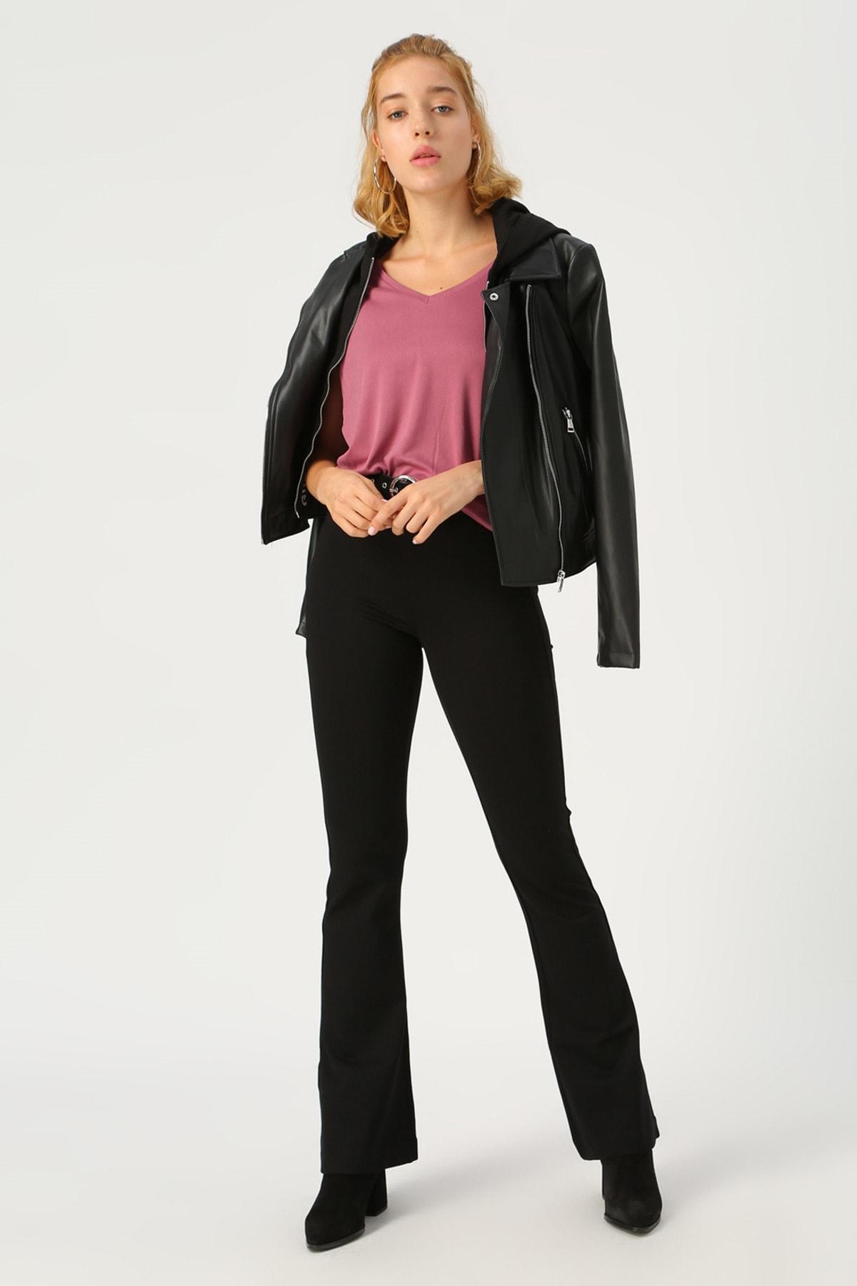 Vero Moda Kadın Siyah Siyah İspanyol Paça Örme Pantolon 10209858 VMKAMMA 1