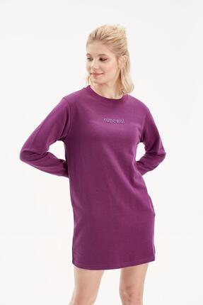 Rossa İntimo Kadın Mor Yazılı Sweatshirt Elbise