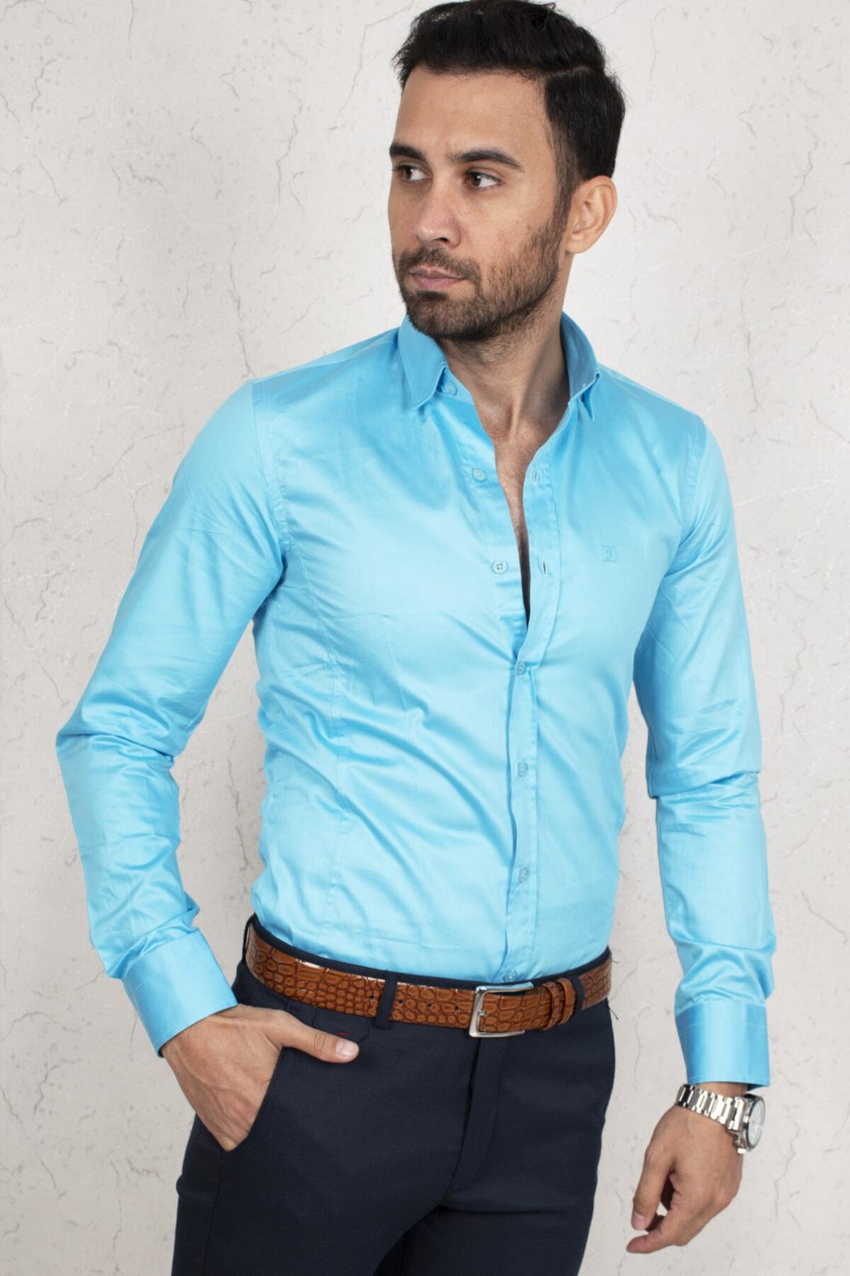 DeepSEA Erkek Mavi Regular Fit Gömlek 2000165 1