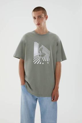 Pull & Bear Erkek Haki Roma Heykeli Baskılı T-shirt