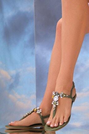 Oblavion Kadın Haki Yeşil Lavion Hakiki Deri Günlük Taşlı Sandalet