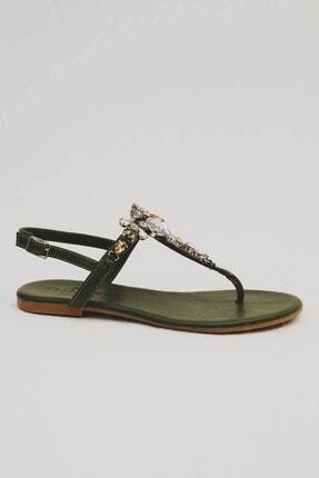 Oblavion Kadın Haki Yeşil Günlük Taşlı  Sandalet
