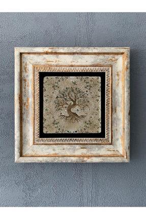 Oscar Stone Decor Hayat Ağacı  Çerçeveli Taş Duvar Dekoru 20x20 cm