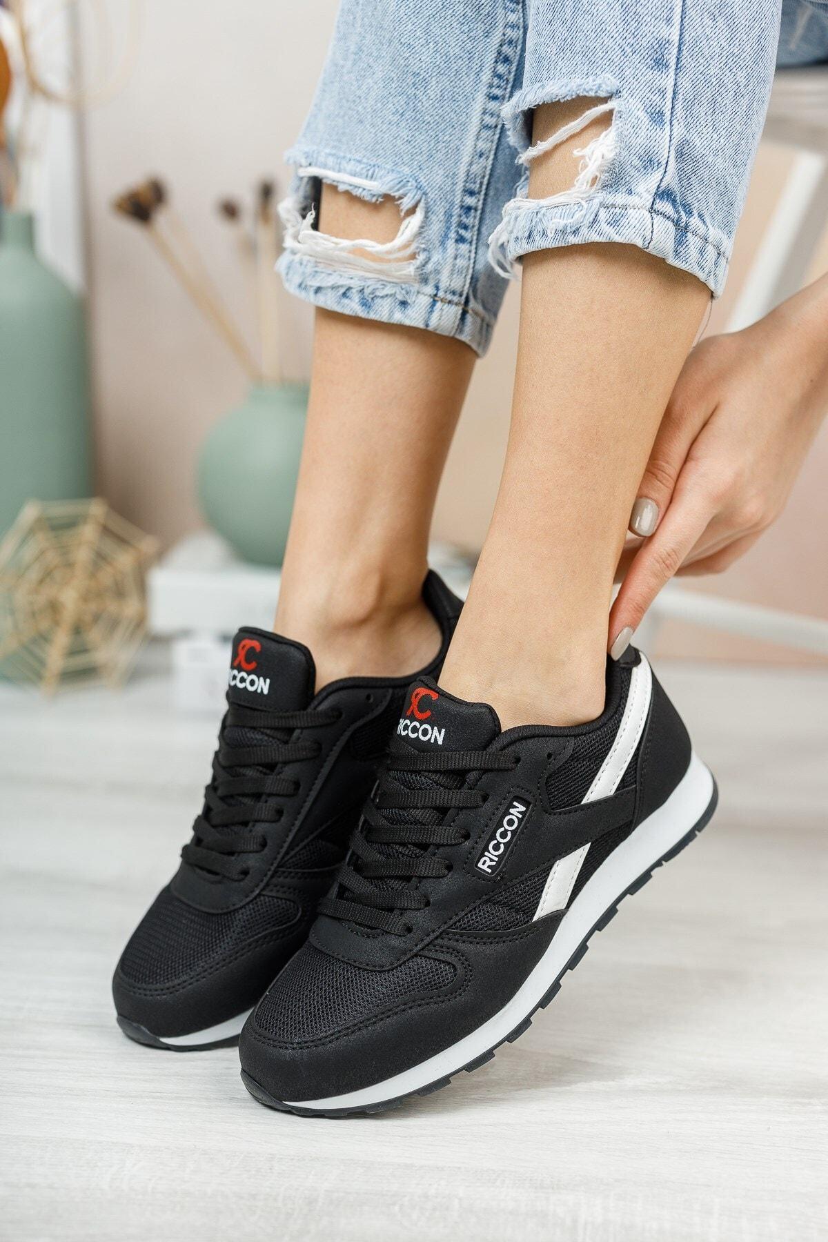 Riccon Siyah Beyaz Unisex Sneaker 0012853 1