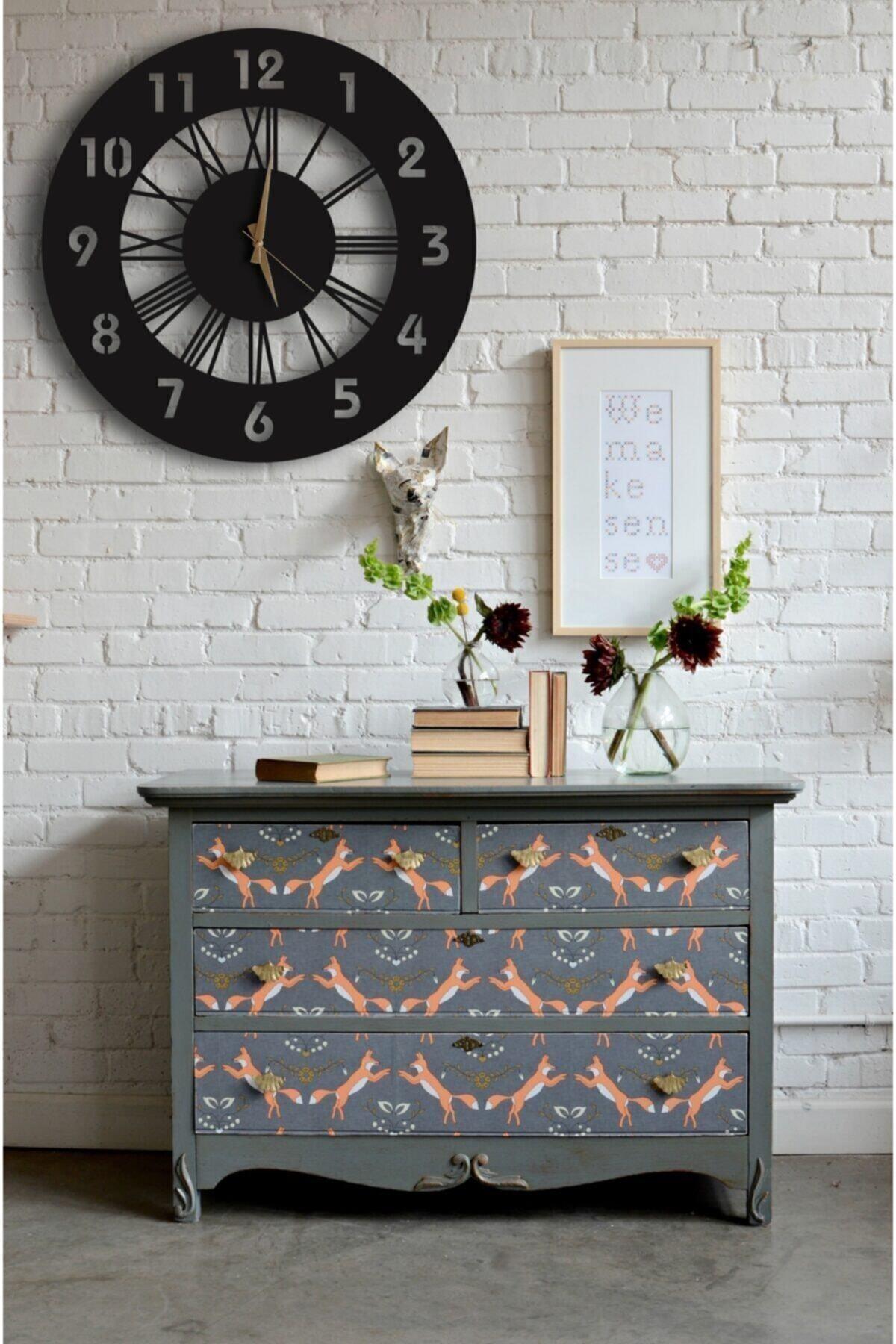LUPOKRAFT Dekoratif Duvar Saati + Yapraklı Tablo 1