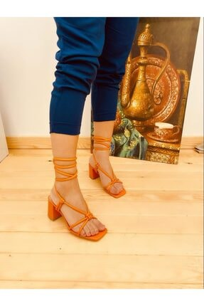 Elvinin Tarzı Kadın Turuncu Belden Bağlamalı Topuklu Sandalet