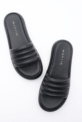 Marjin Kadın Dolgu Topuklu Terlik Levas Siyah