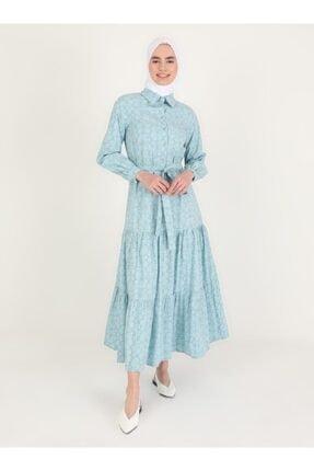 Loreen Kadın Mavi Çiçek Desenli Düğme Detaylı Elbise