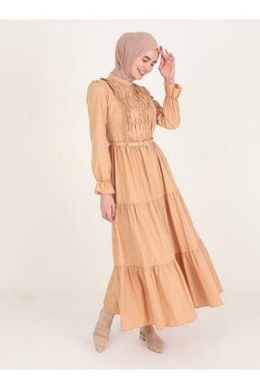 Loreen Latte Volan Detaylı Düğmeli Elbise