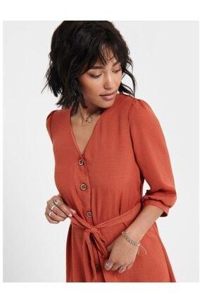 Only Kiremit Renk Beldan Bağlamalı Elbise