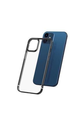 Baseus Iphone 12 Pro Max Için Parlak Metal Çerçeveli Shining Case Esnek Jel Kılıf Siyah Renk
