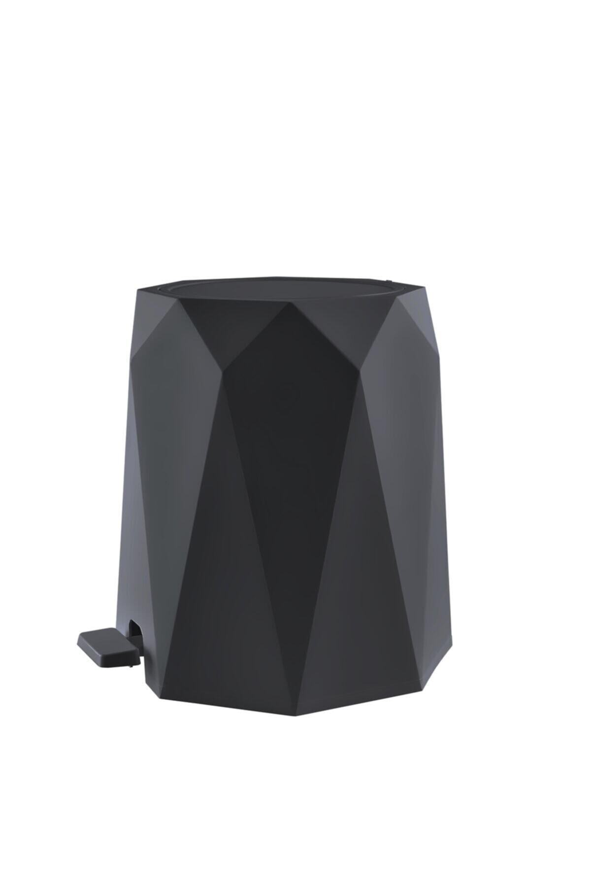 Elif Geo Antrasit 2'li Banyo Seti Plastik 5 lt Çöp Kovası Ve Tuvalet Fırçası 1