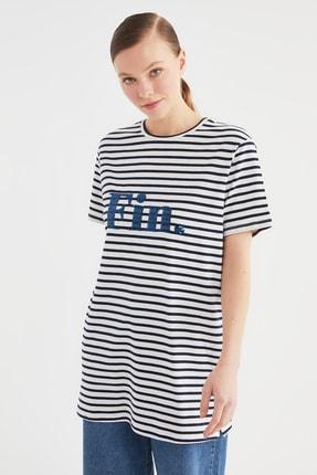 Trendyol Modest Lacivert Çizgili Örme Tunik T-shirt TCTSS21TN0349