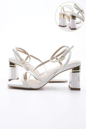 Marjin Kadın Şeffaf Topuklu Ayakkabı Manerbeyaz