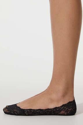 Oysho Kadın Siyah Dantelli Görünmez Çorap 2 Çift