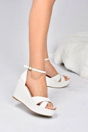 Fox Shoes KadIN Beyaz Dolgu Topuklu Ayakkabı