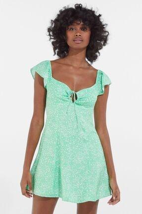 Bershka Kadın Yeşil Çiçek Desenli Elbise