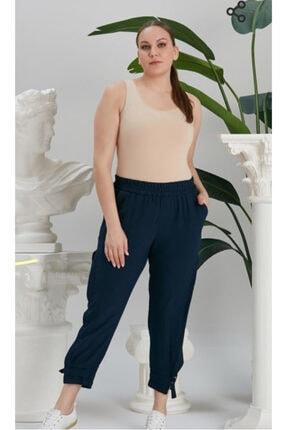 RMG Kadın Lacivert Paça Yırtmaç Detaylı Beli Lastikli Büyük Beden Pantolon