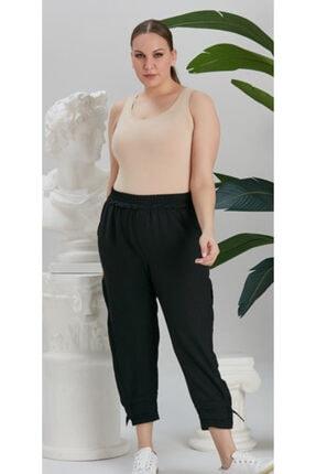 RMG Siyah Paça Yırtmaç Detaylı Beli Lastikli Pantolon