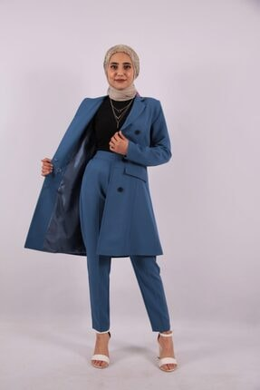 ucuzaverme Kadın  Mavi Uzun Blazer Ceket Astarlı   Takım Elbise
