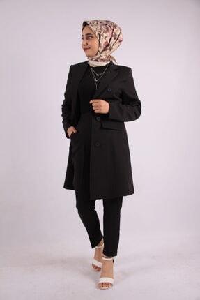 ucuzaverme Kadın Siyah Uzun Blazer Ceket Astarlı Takım Elbise