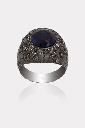 ATASAY Erkek Siyah Pırlantalı Gümüş Yüzüğü