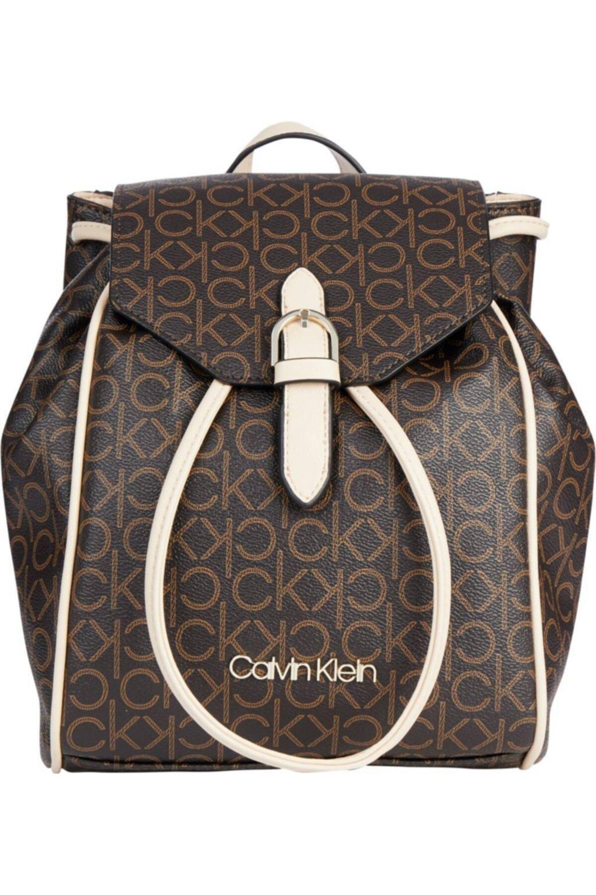 Calvin Klein Kadın Kahverengı Mono Mıx Drawstrıng Bp W/flap 2