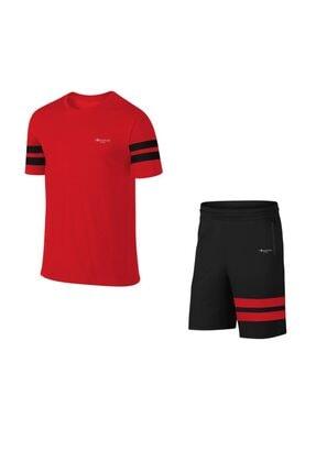 POSEIDONSTORM Erkek Kırmızı Büyük Beden Sporcu Tişört Ve Şort Takımı