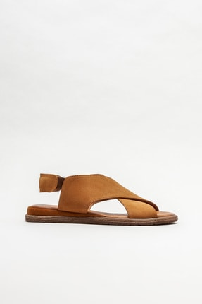 Elle Shoes Kadın Taba Deri Düz Sandalet