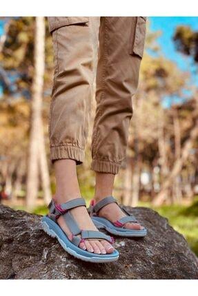 ERVANIN BUTİĞİ Kadın Gri (run) Cırtlı Düz Taban Sandalet