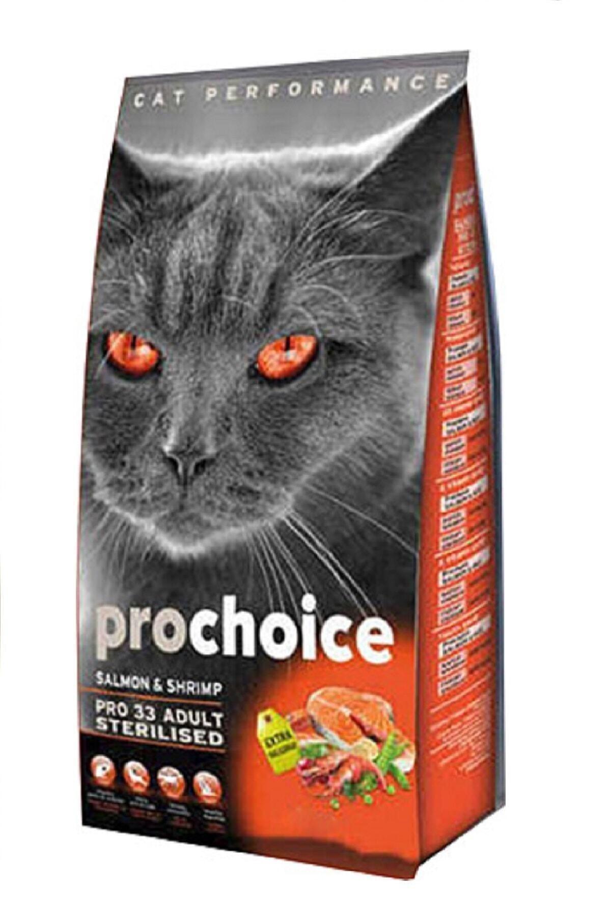 ProChoice 3 Somonlu Ve Karidesli Düşük Tahıllı Kısırlaştırılmış Kedi Maması 15 kg 1