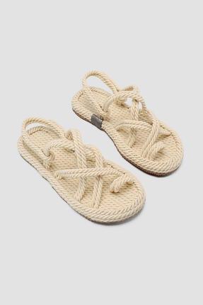 Limoya Kadın Marlene Ekru Çapraz Halat Sandalet
