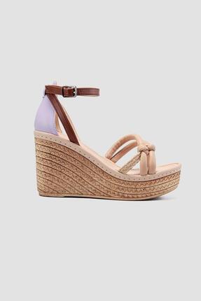 Limoya Hasır Detayli Yüksek Dolgu Topuklu Sandalet