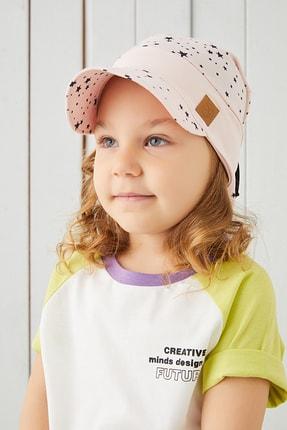 Babygiz %100 Pamuklu El Yapımı Ekstra Yumuşak Kız Bebek Çocuk Vizyerli Pudra 4 Mevsim Fiyonklu Şapka