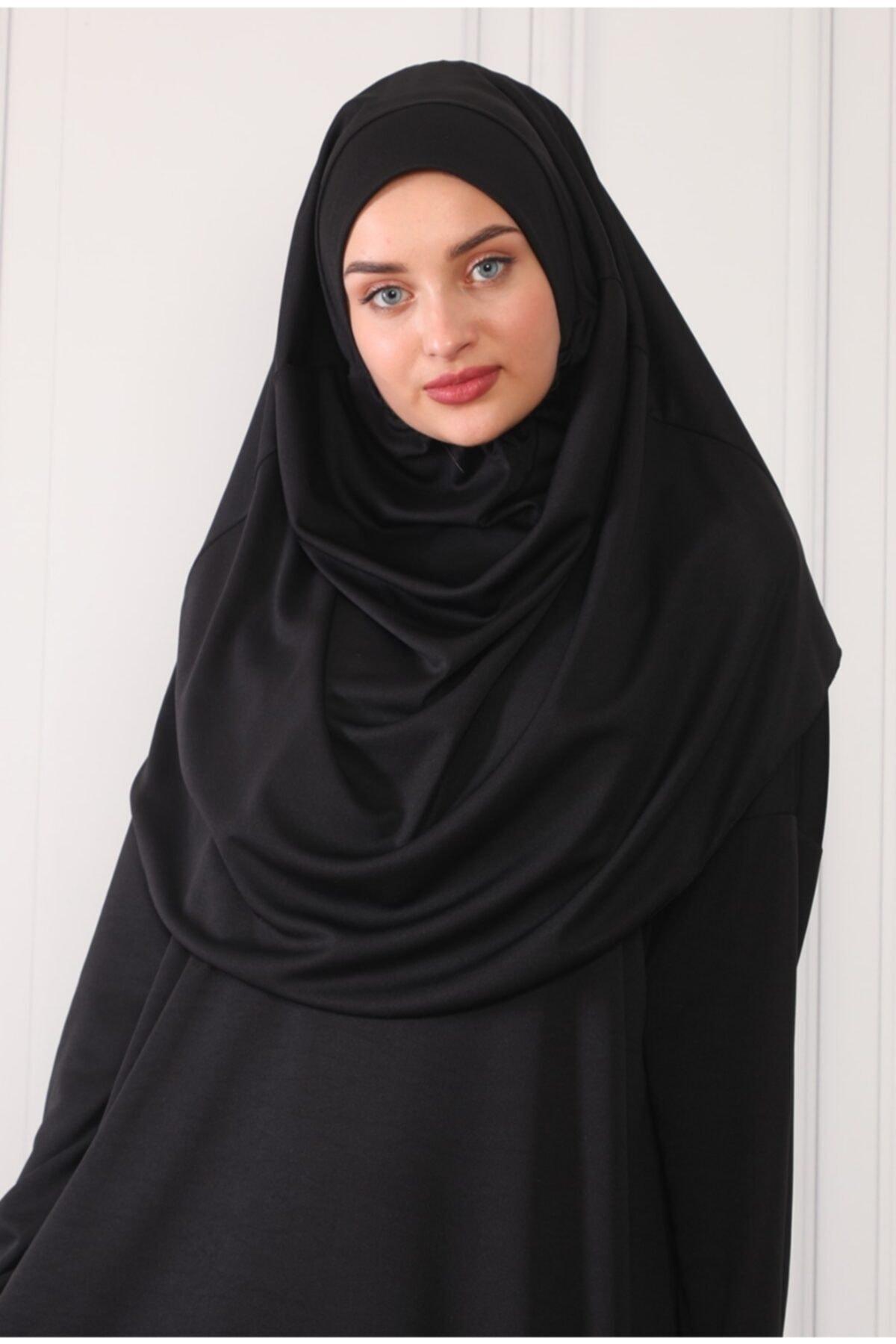 Renda Moda Kadın Siyah Tek Parça Boydan Giymeli Namaz Elbisesi 2