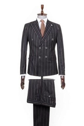 Mcr Siyah Sivri Yaka Çizgili Kruvaze Takım Elbise