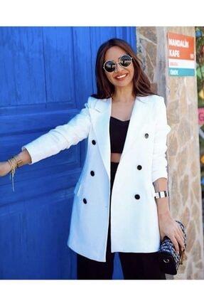 BENGİ BUTİK Kadın Beyaz Düğme Detaylı Astarlı Blazer Ceket