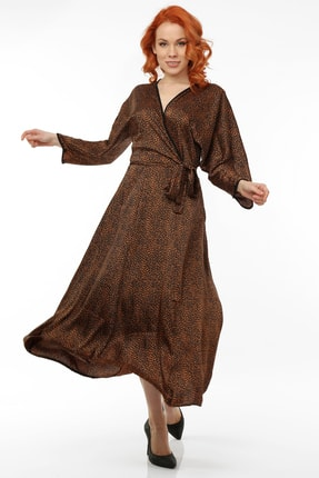 Pitti Kadın Kahverengi Leopar Desenli Elbise 51067