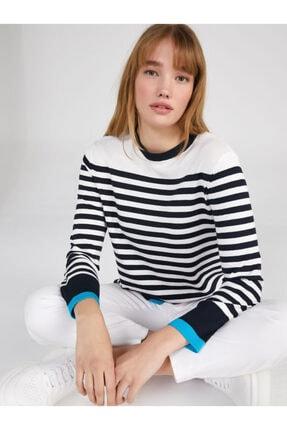 Faik Sönmez Kadın Lacivert Çizgili Uzun Kollu Yuvarlak Yaka Triko Bluz