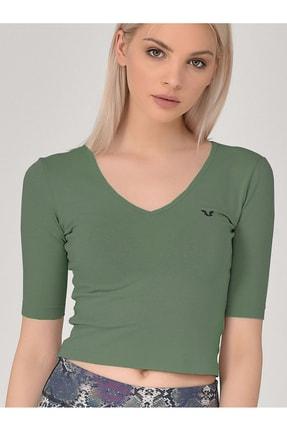bilcee Kadın Yeşil Kadın Yoga T-shırt Gs-8105
