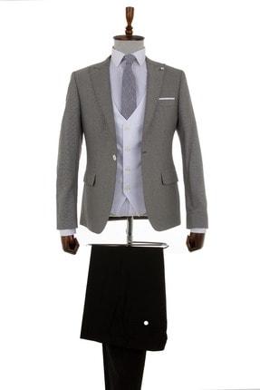 Mcr Gri Nokta Desenli Tek Düğmeli Takım Elbise